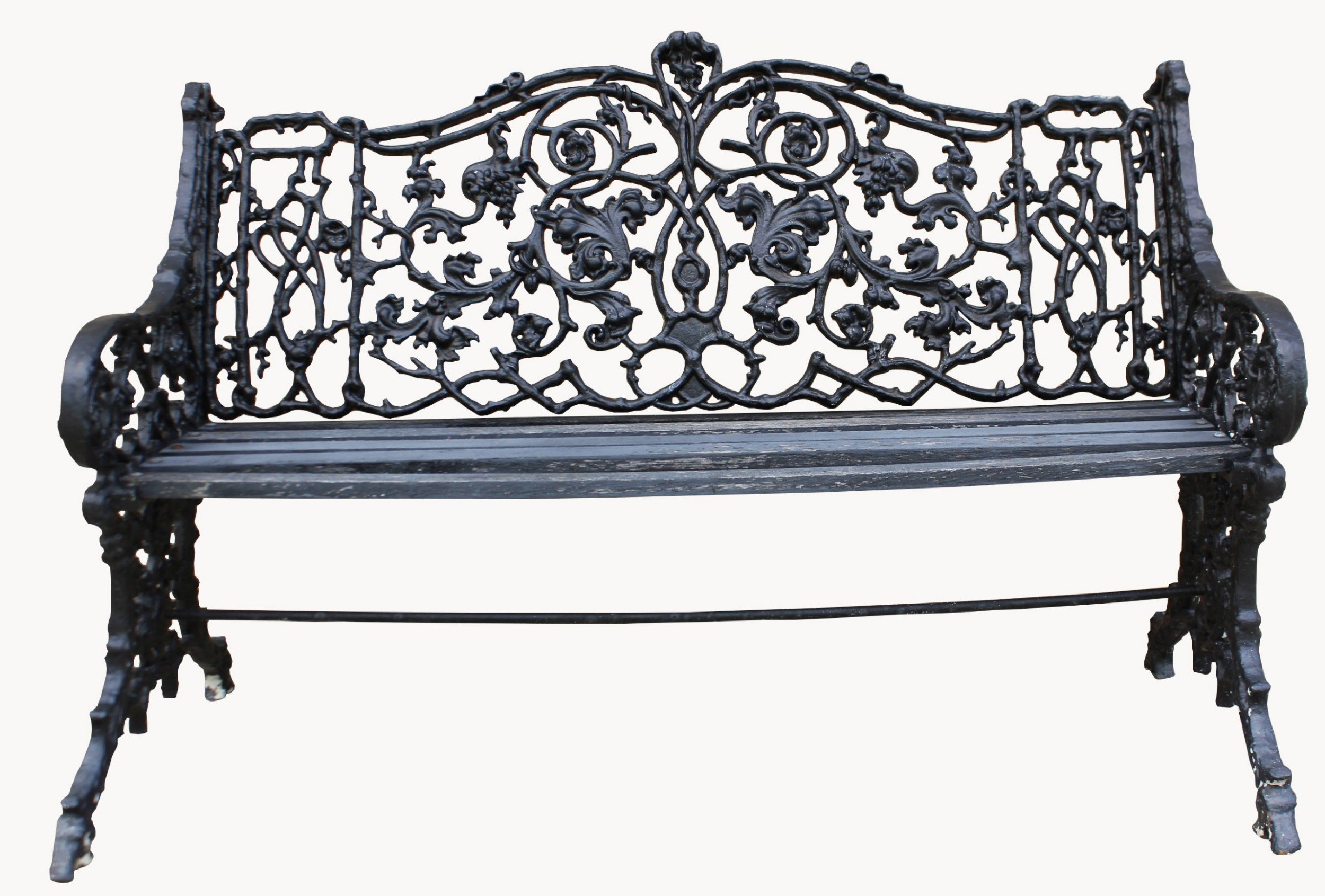 A Good Quality Victorian Cast Iron Garden Bench Possibly By