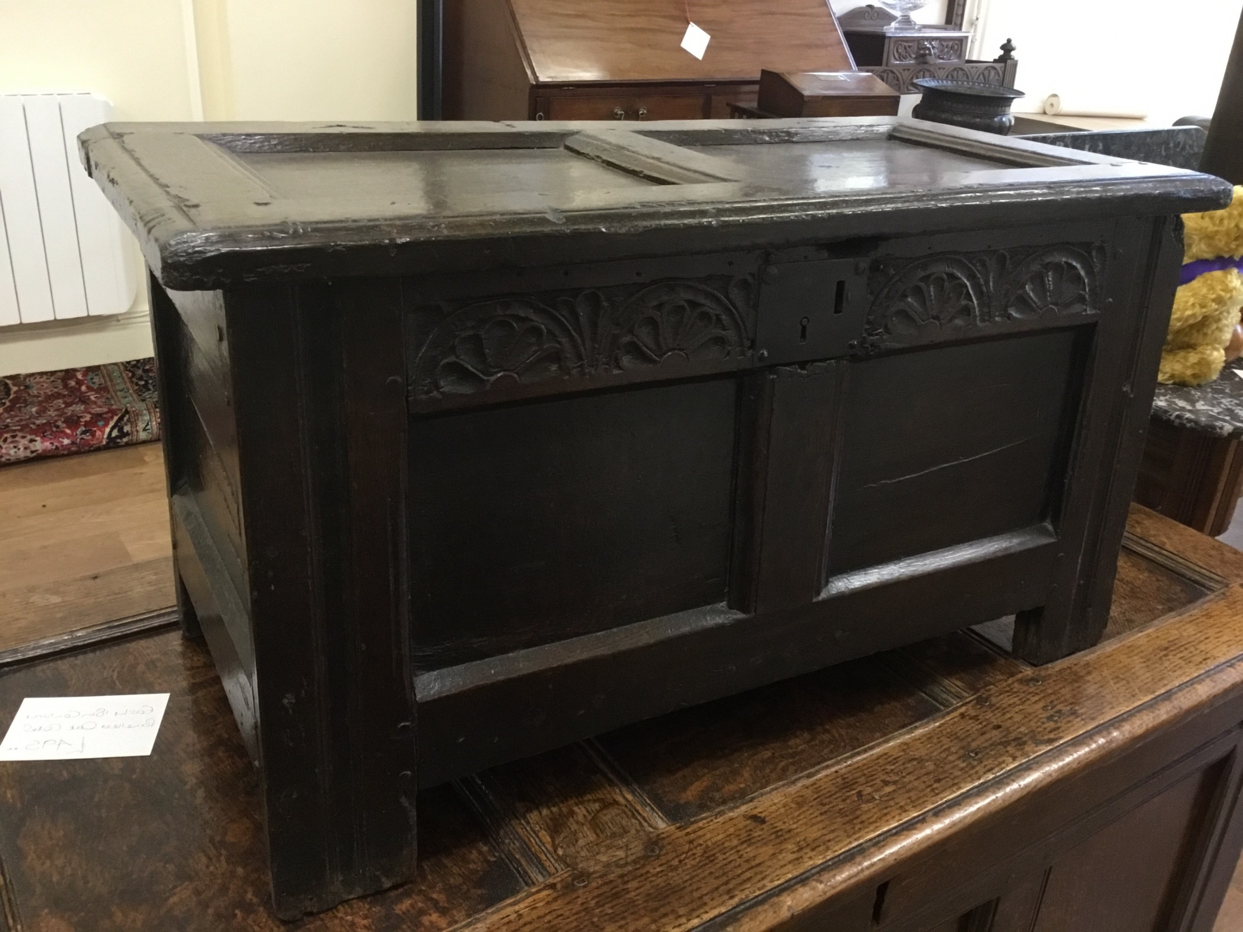 late 17th century oak coffer of very small proportions