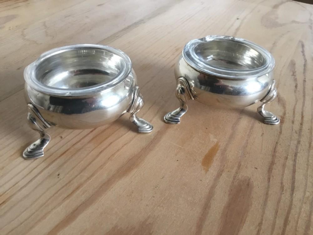 pair silver georgian salts hm london 1736
