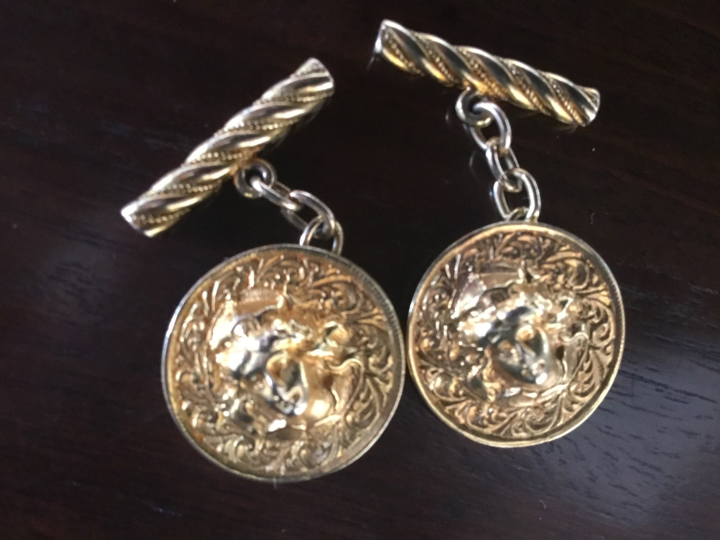 elegant and rare gents 9 ct gold cuff links circa 1950