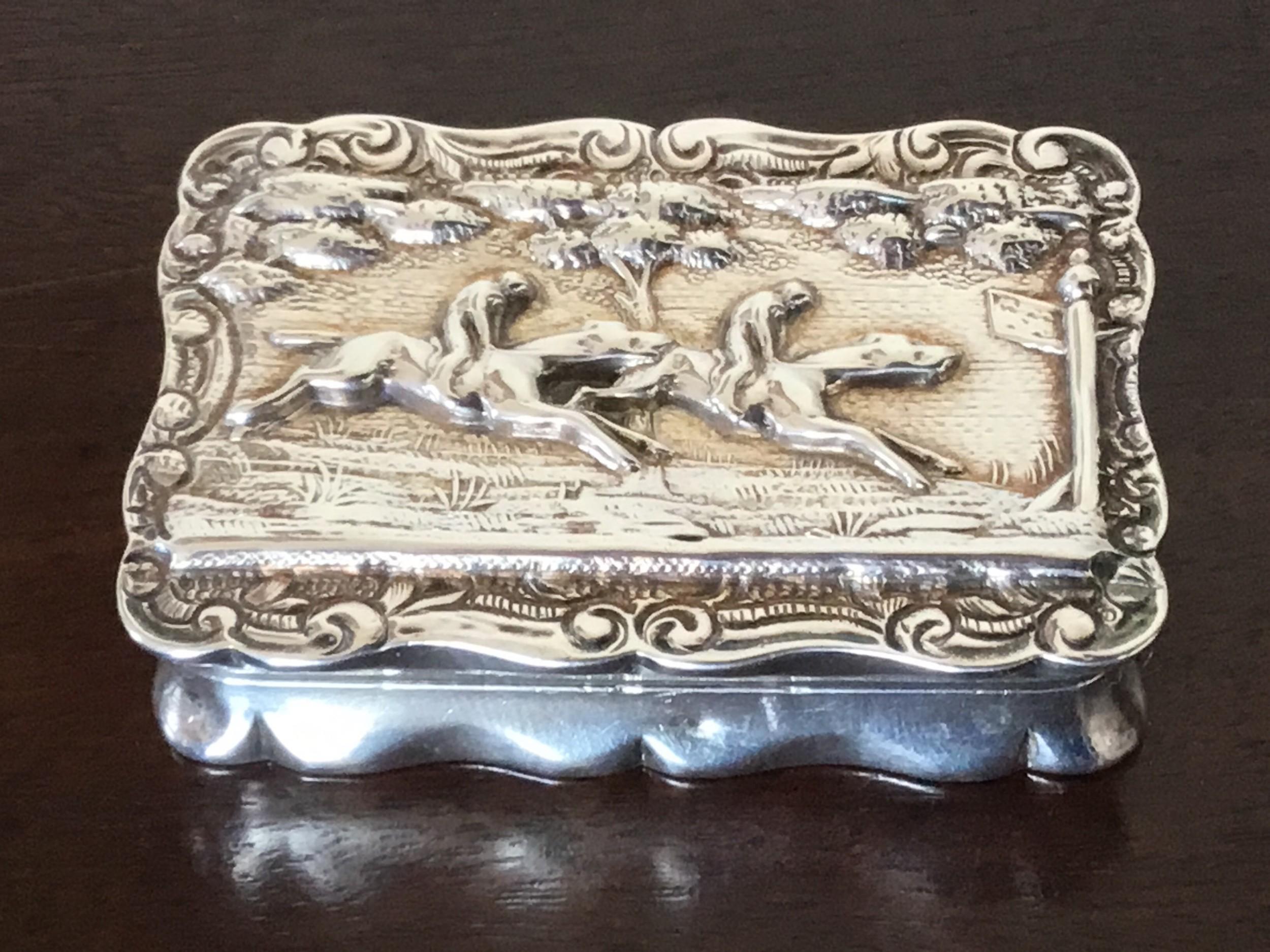 fine and rare victorian equestrian silver gilt snuff box