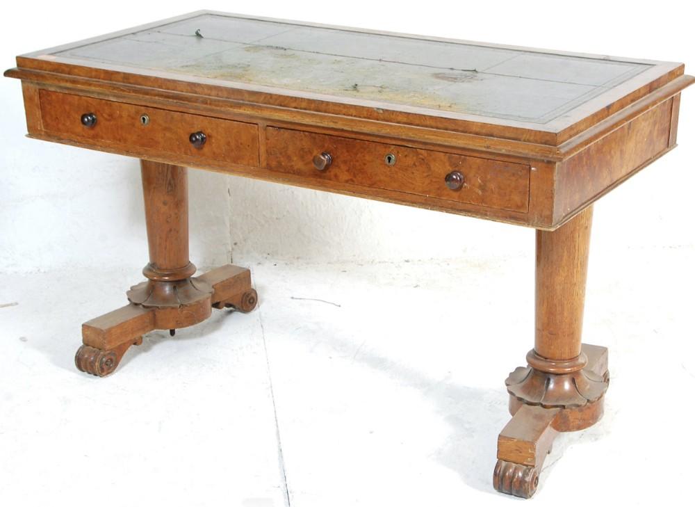 c19th burr pollarded oak library table