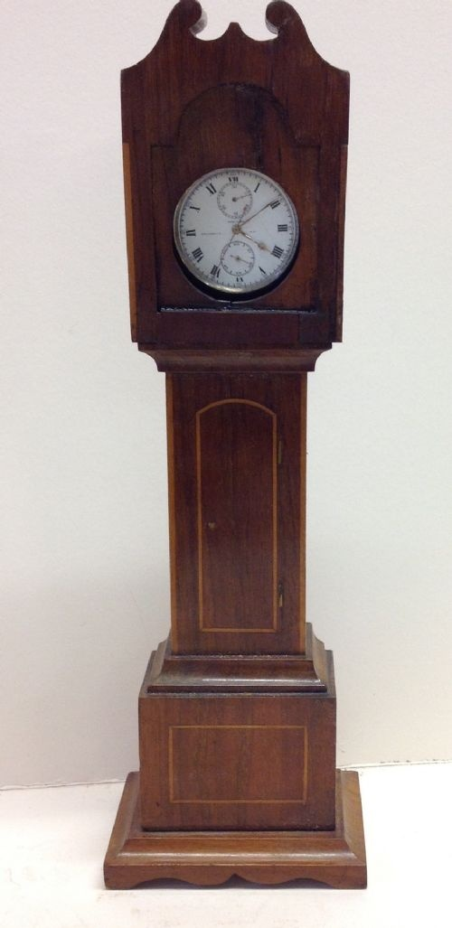 c19th miniature long case clock night watch stand