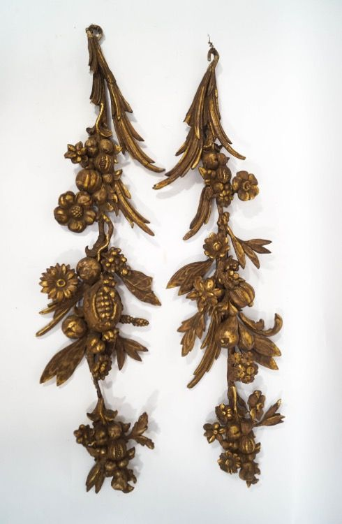 a pair of c19th gilded gesso appliqus