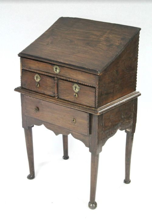 c18th elm bible box on stand