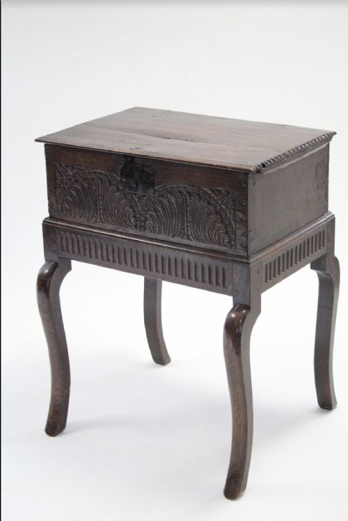 c17th bible box on stand