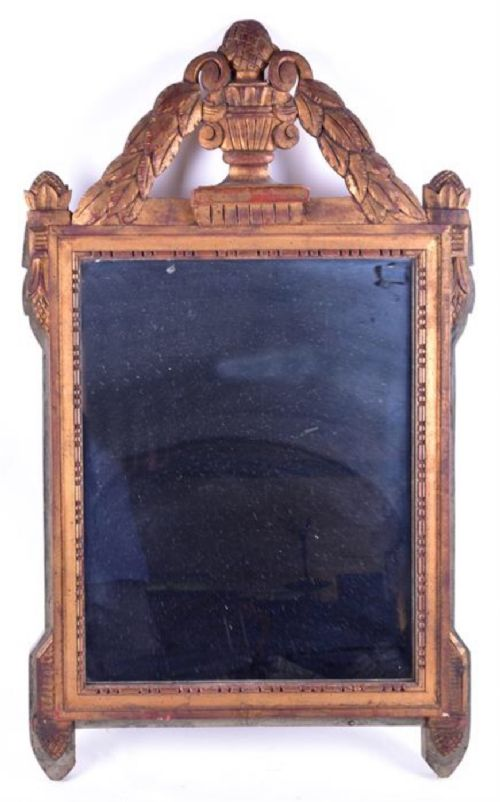 early c19th carved gilt wood wall mirror