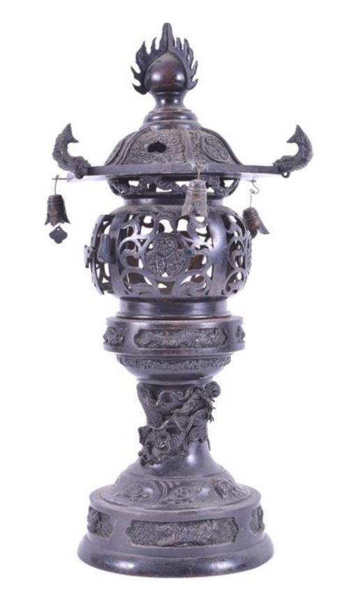 c19th japanese bronze pagoda korro
