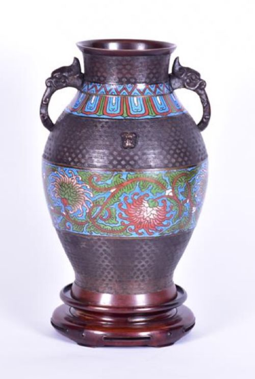 a large chinese bronze champleve twin handled vase