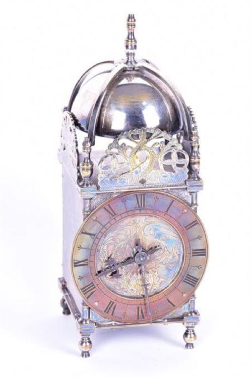 silver plated lantern clock