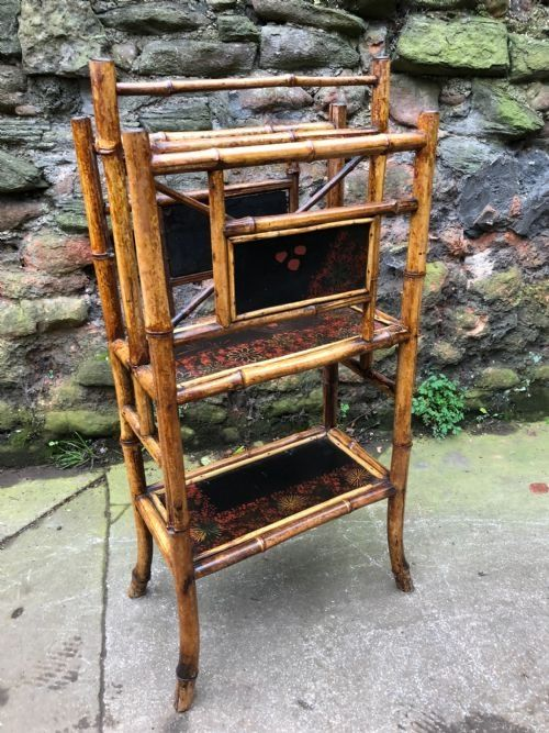 c19th lacquered panelled bamboo canterbury stand
