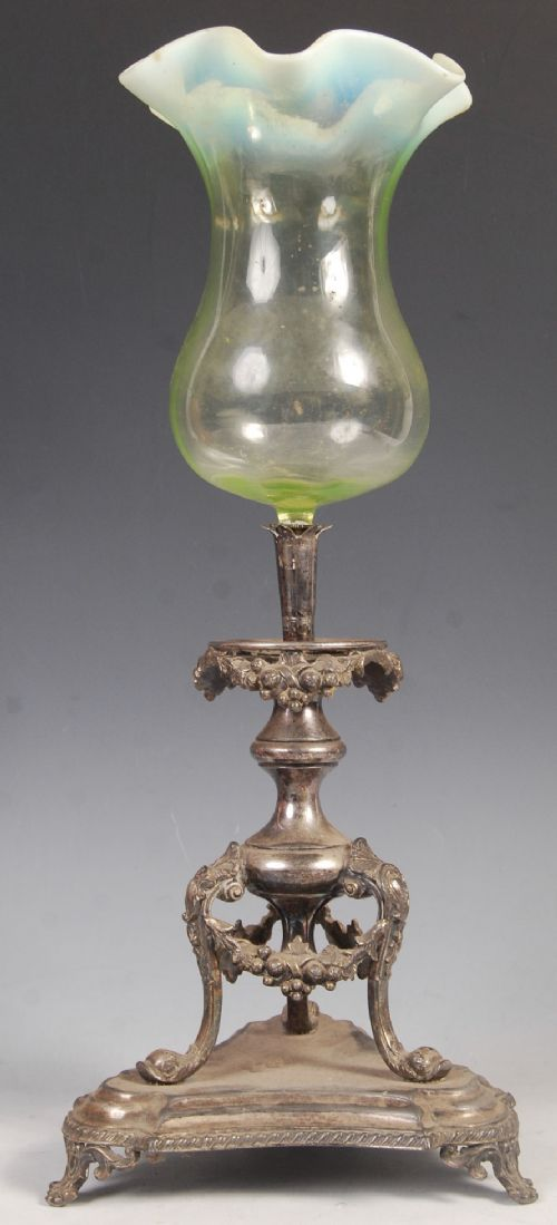c19th epergne centre piece with vaseline glass bowl