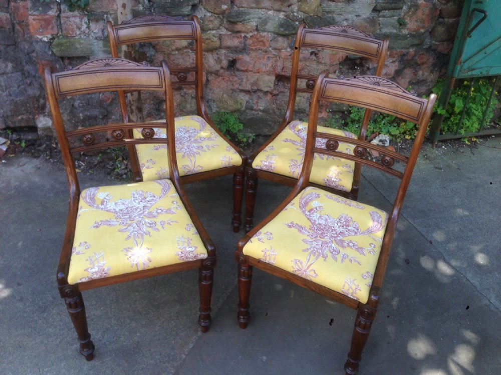 set of four c19th rosewood chairs