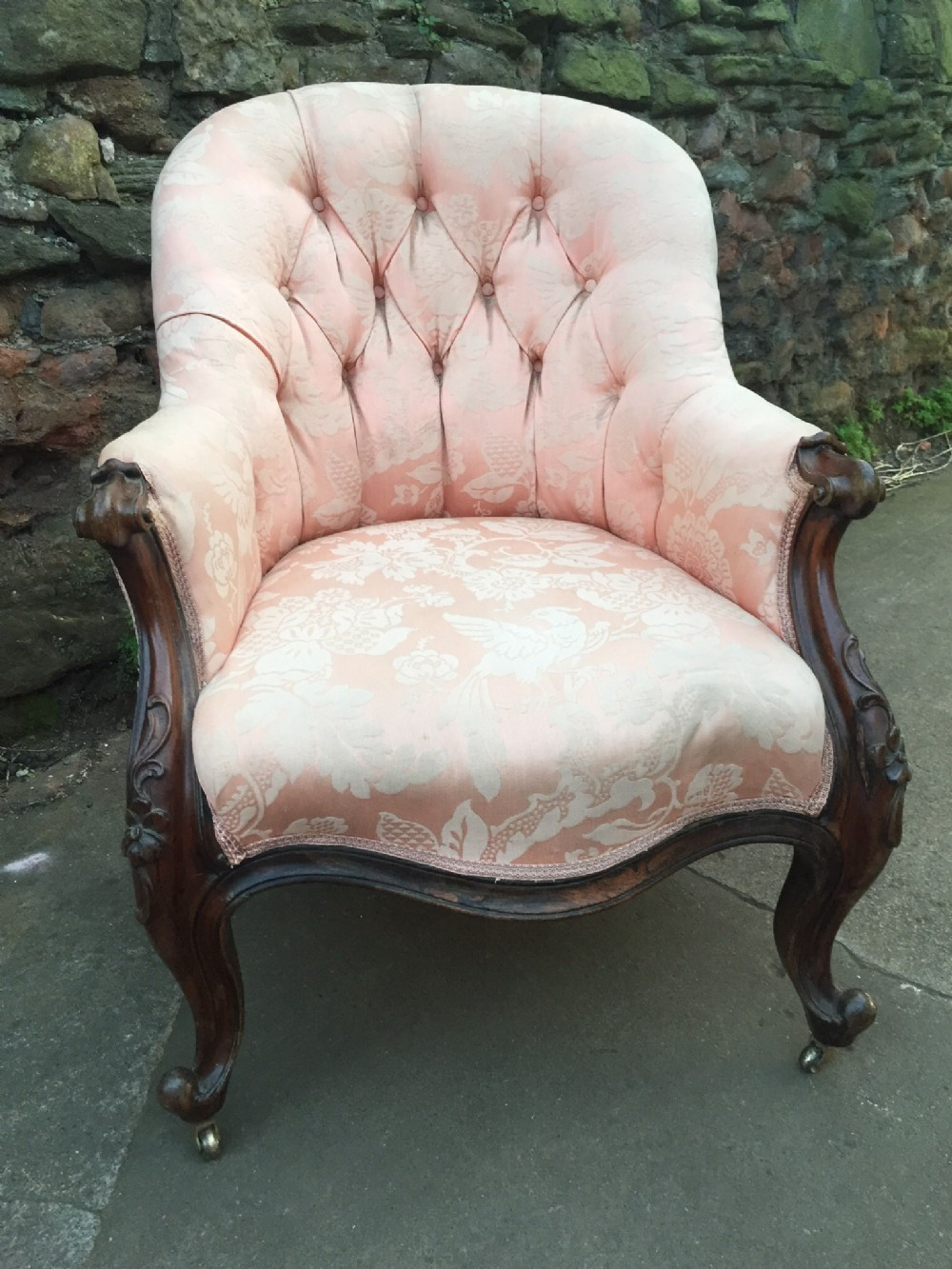 c19th rosewood show frame armchair