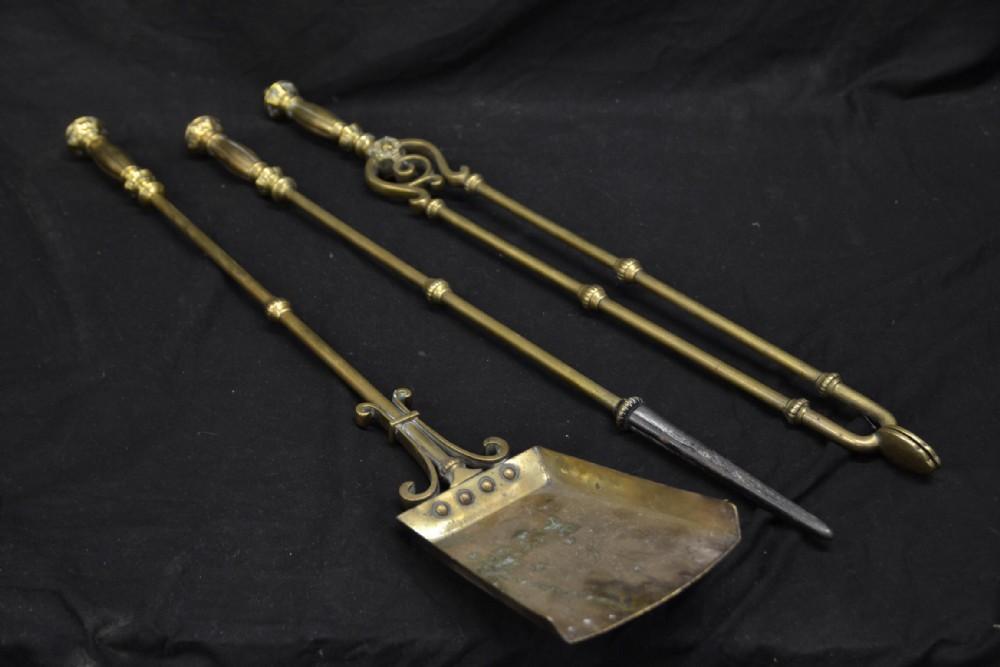 set of three c19th brass fire irons