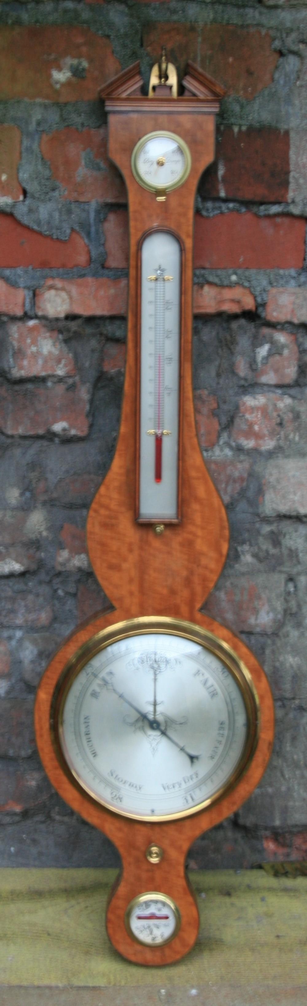 c19th satinwood barometer