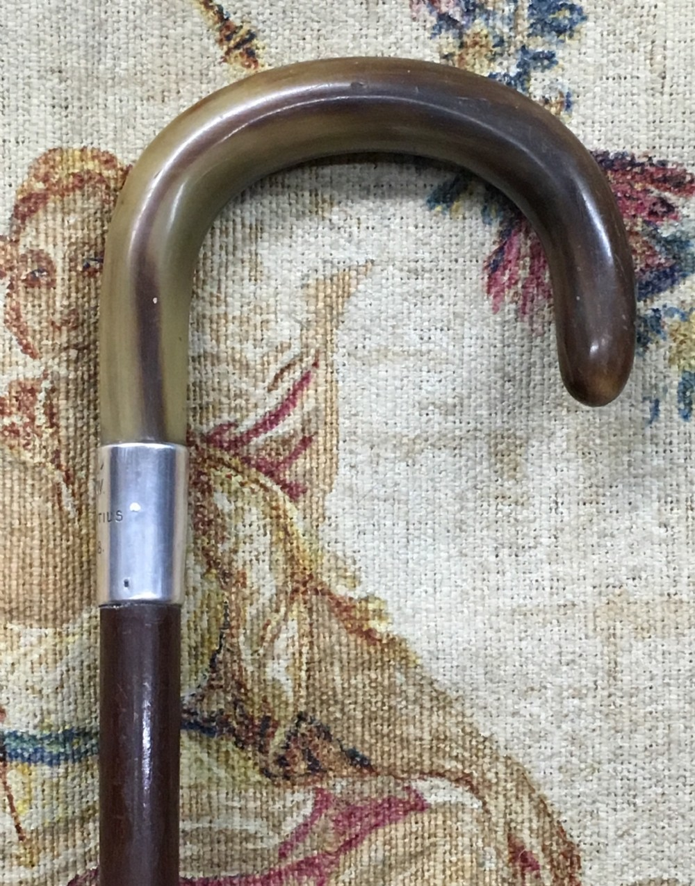 early c20th horn handled silver coloured walking stick
