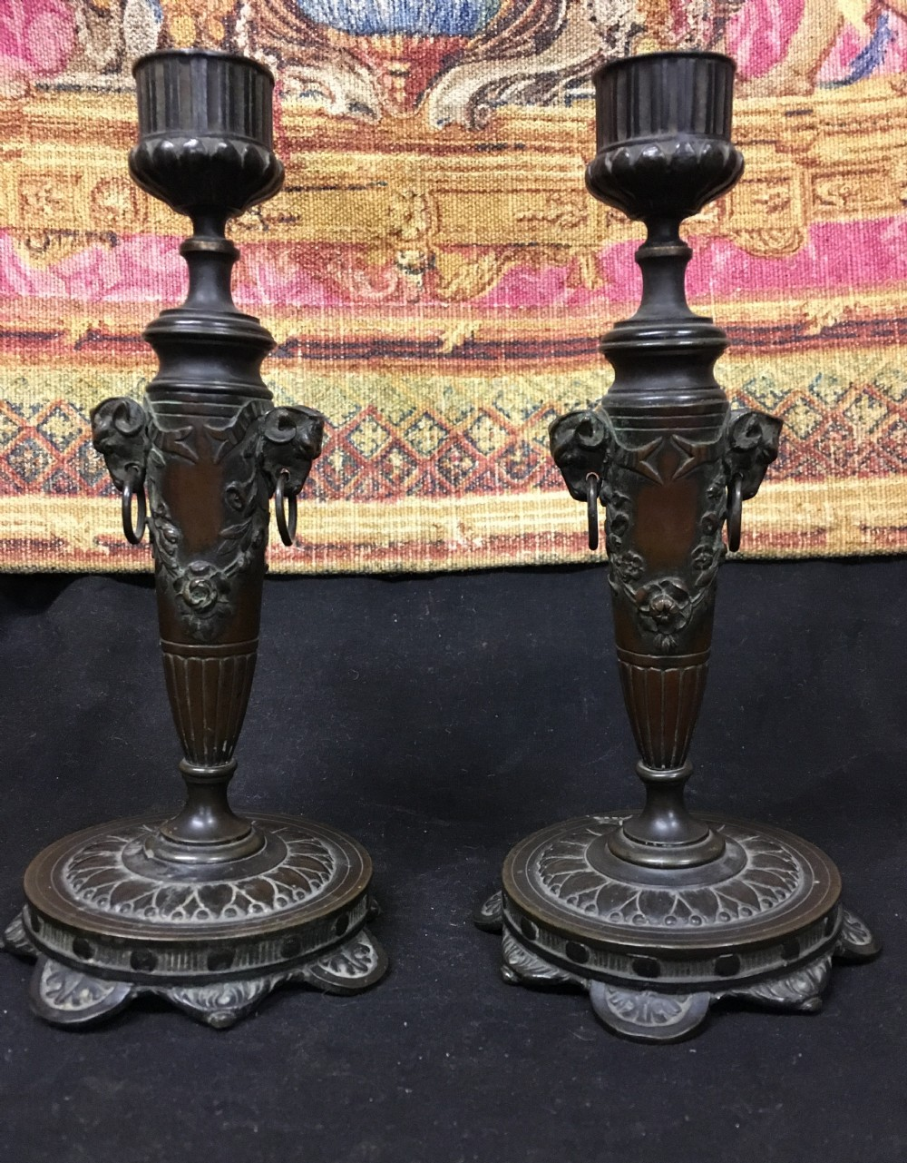c19th pair of bronze candlesticks in the manner of thomas hope
