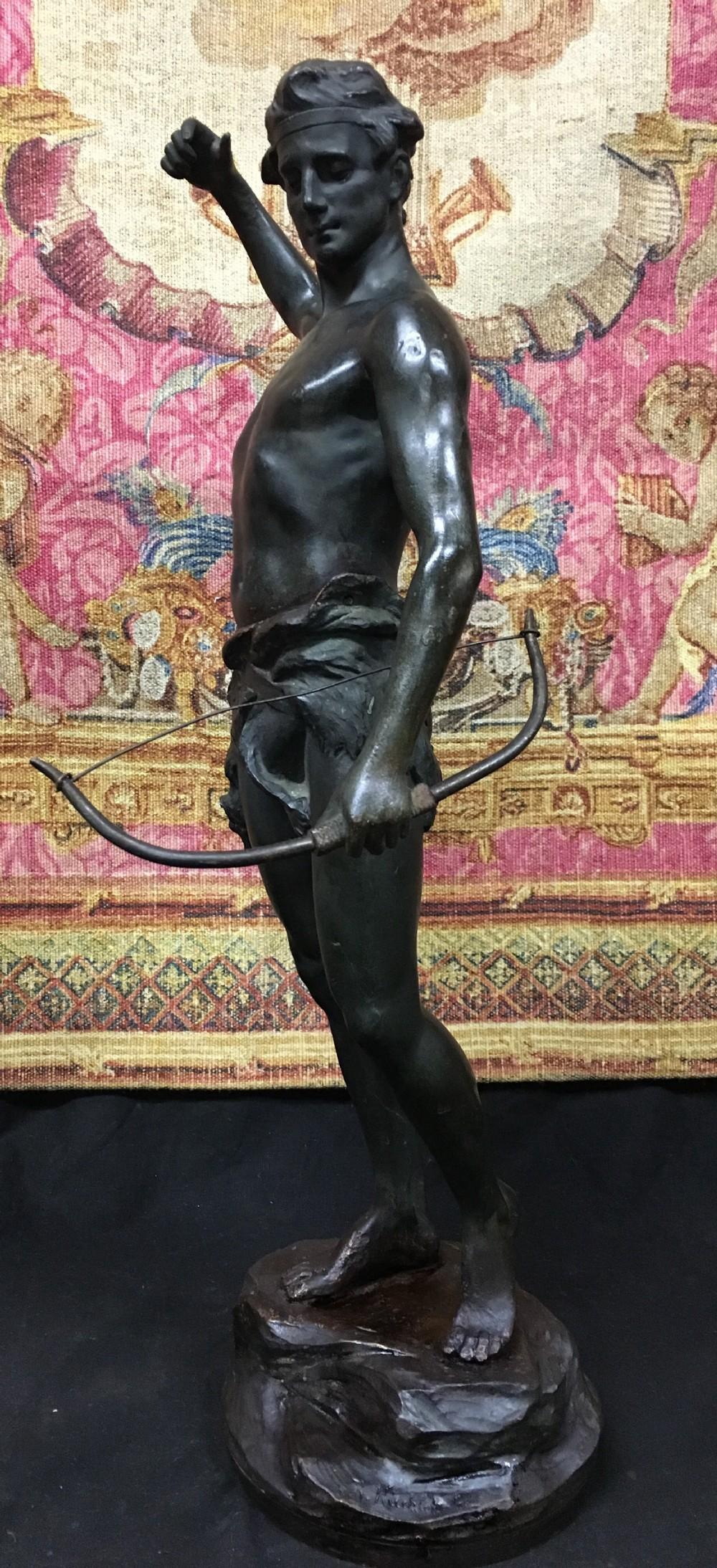 c19th bronze archer by r kuchler rudolph kuchler 18671954