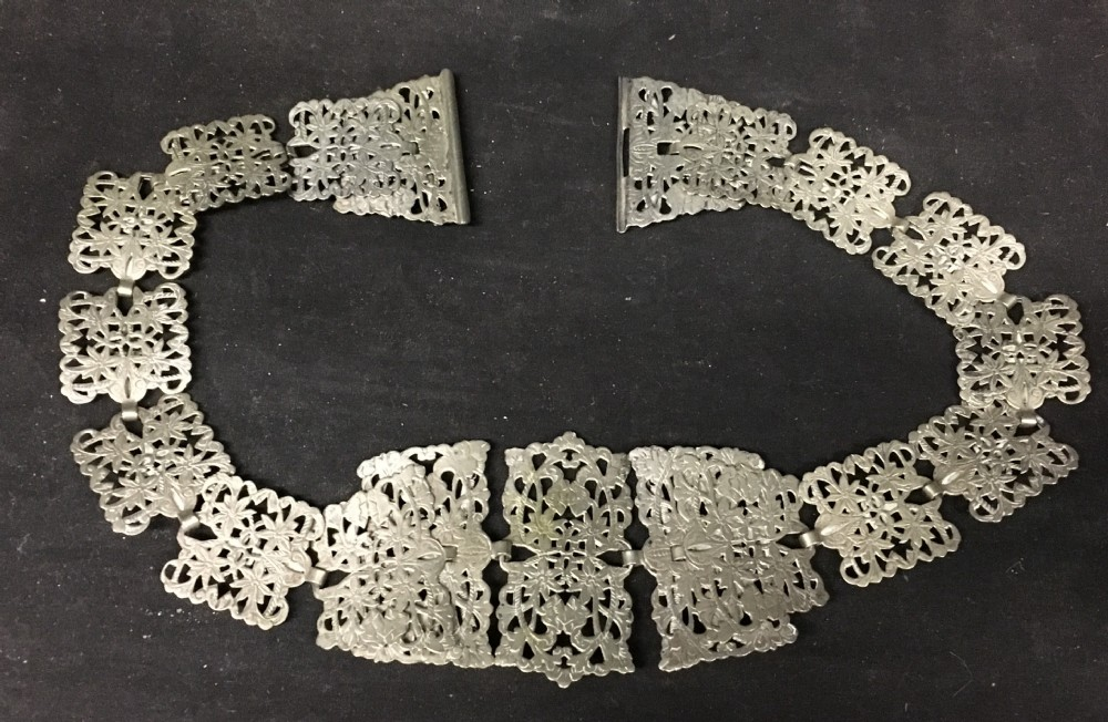edwardian ladies silver plated belt