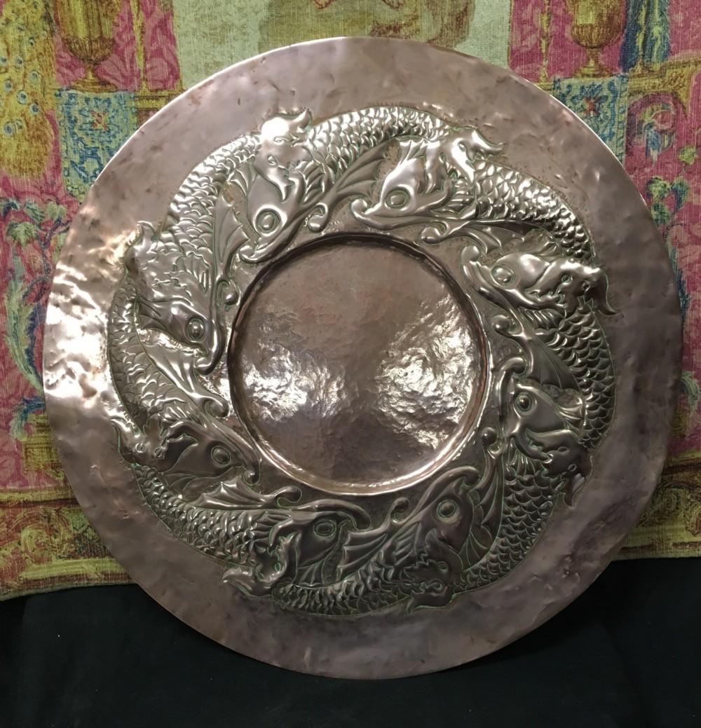 large arts crafts copper plaque