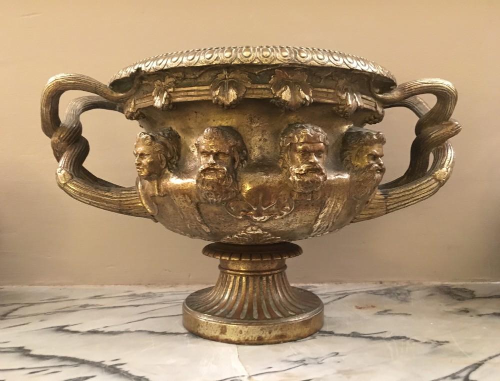 c19th gilt bronze warwick vase