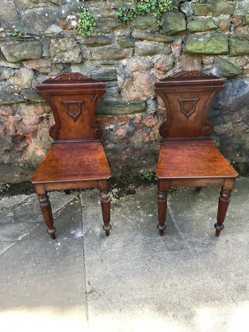c19th pair of mahogany hall chairs