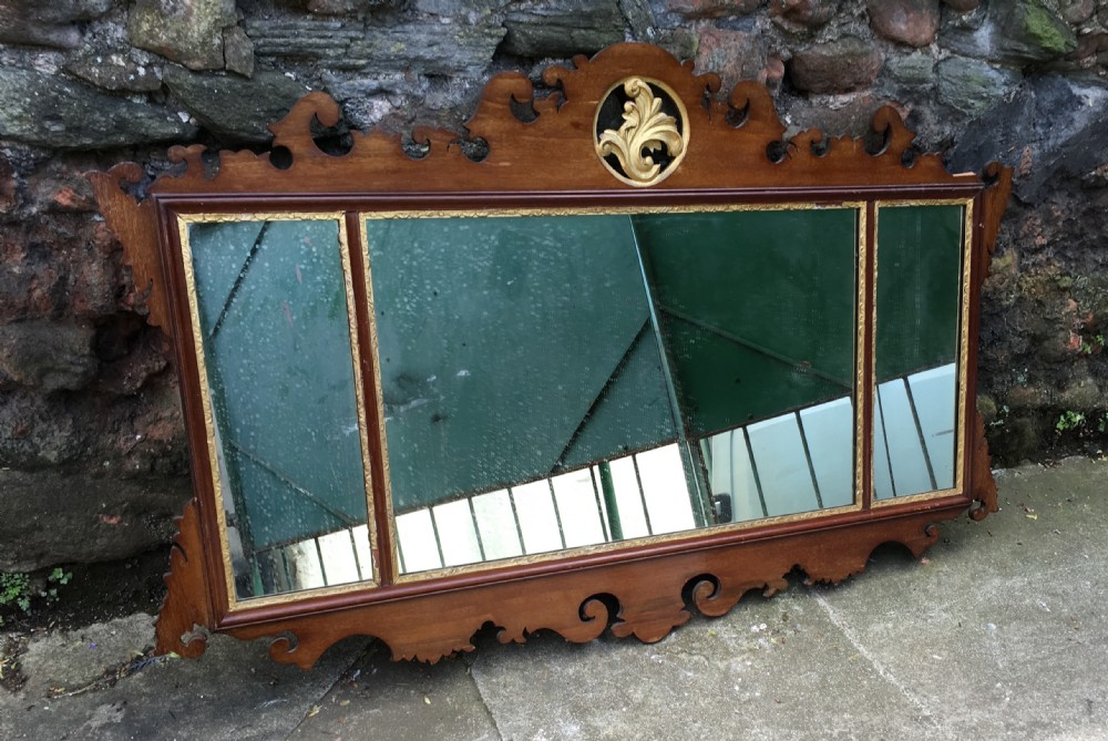 c19th large triptych swansea type fretwork mirror