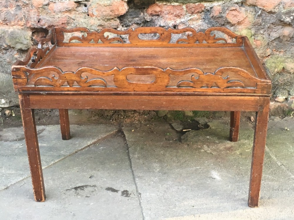 c19th butlers tray on later stand coffee table height