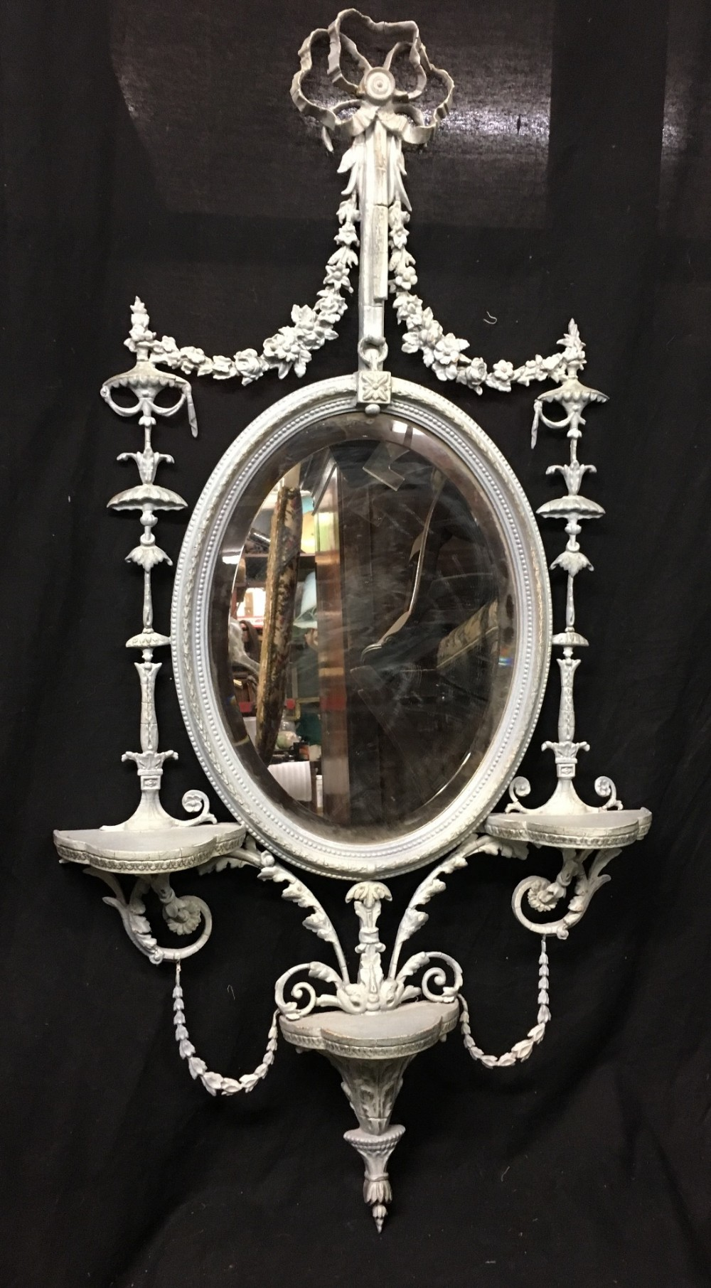 c19th adam style mirror with old painted finish