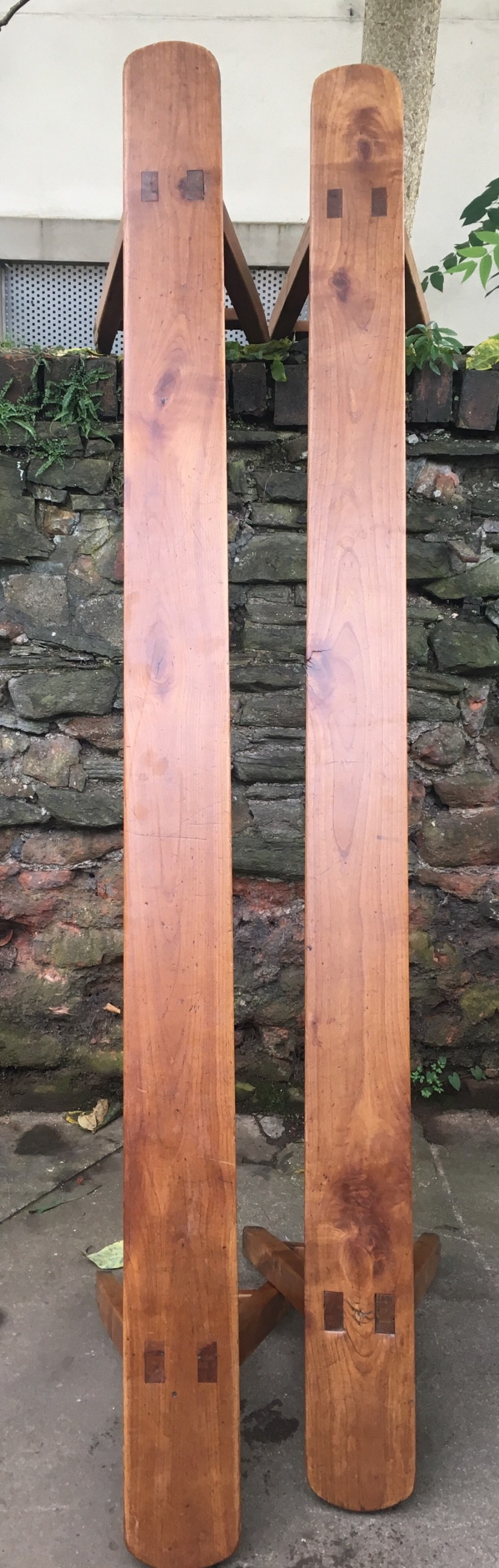 c19th pair of fruitwood benches