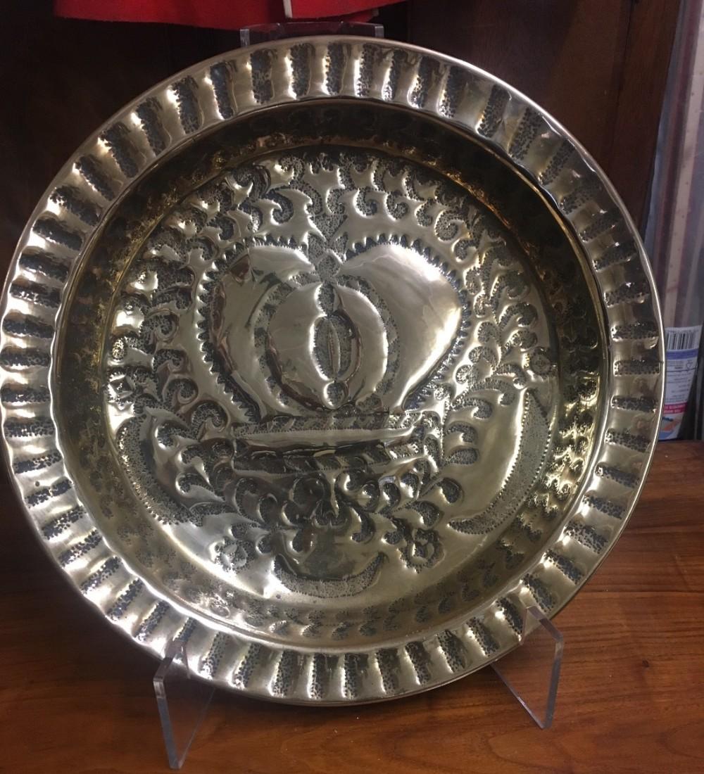 c19th large brass alms dish