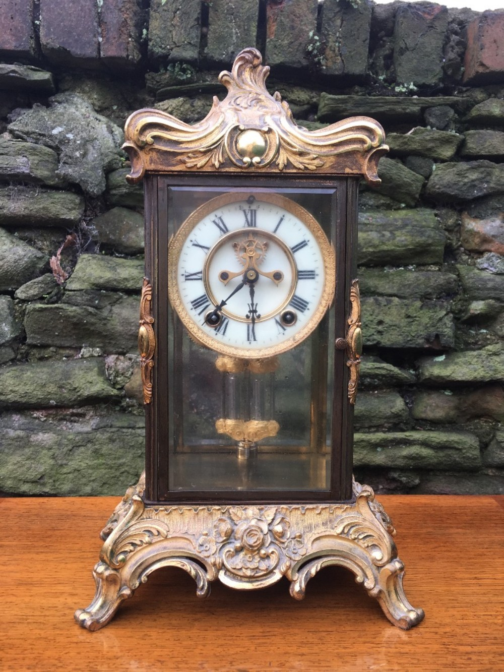 c19th four glass mantle clock