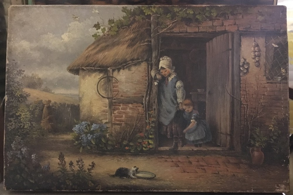 c19th small oil painting on canvass of a farmyard scene