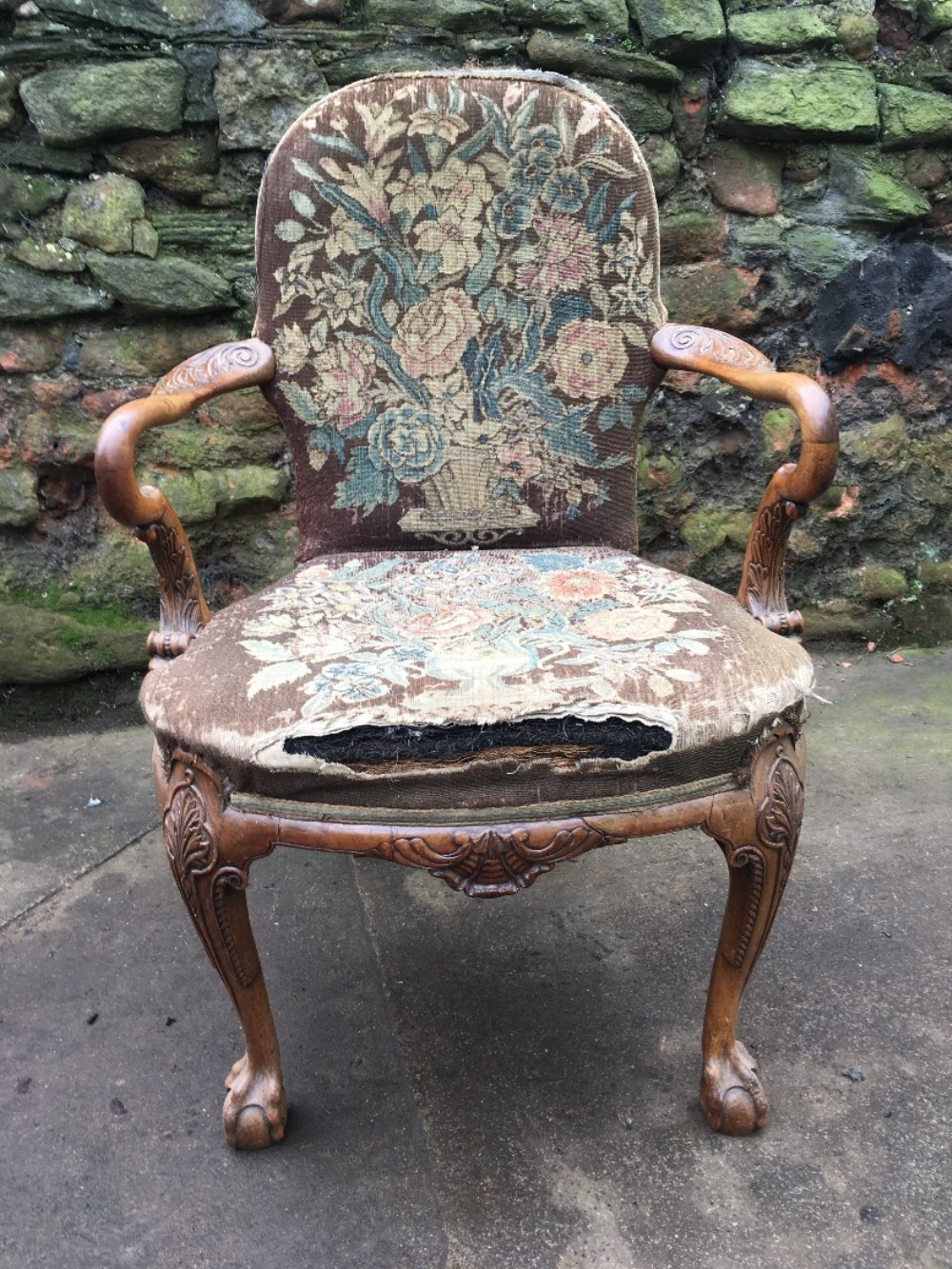 c19th walnut queen anne armchair