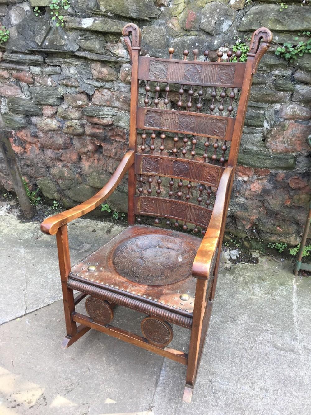 c19th rocking chair in the carlo bugatti style