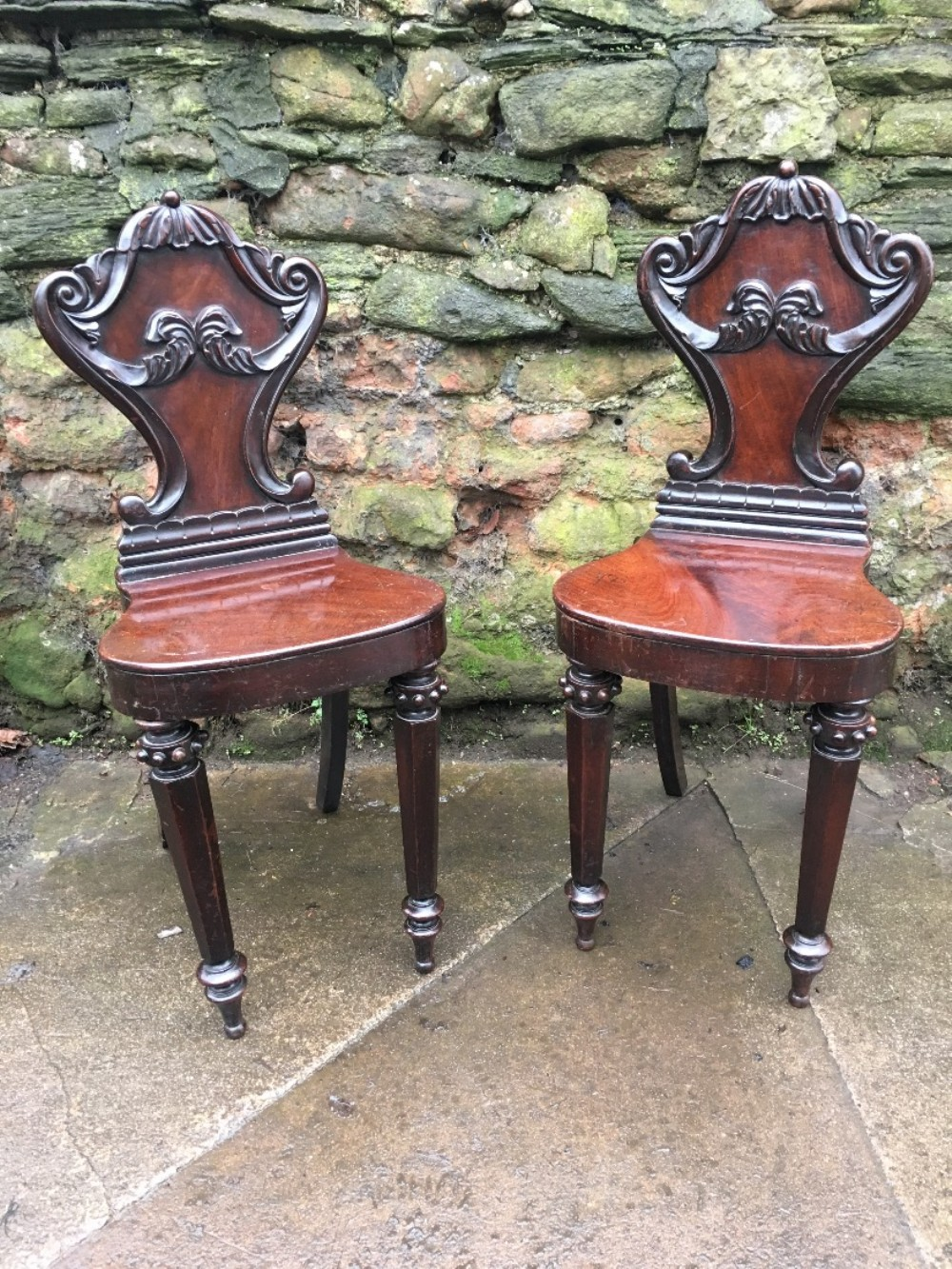 smallest pair of william iv mahogany hall chairs