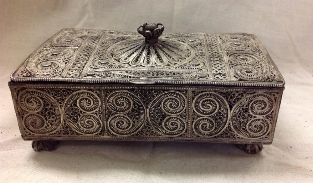 edwardian period silver filegree box