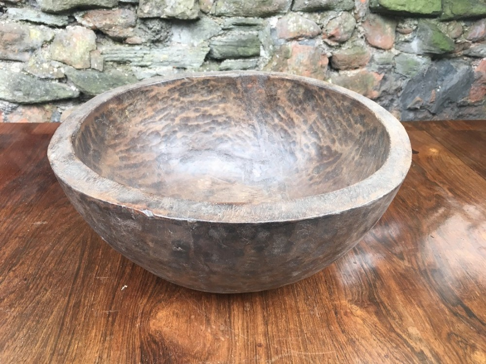 c19th hand hewn wooden fruit bowl