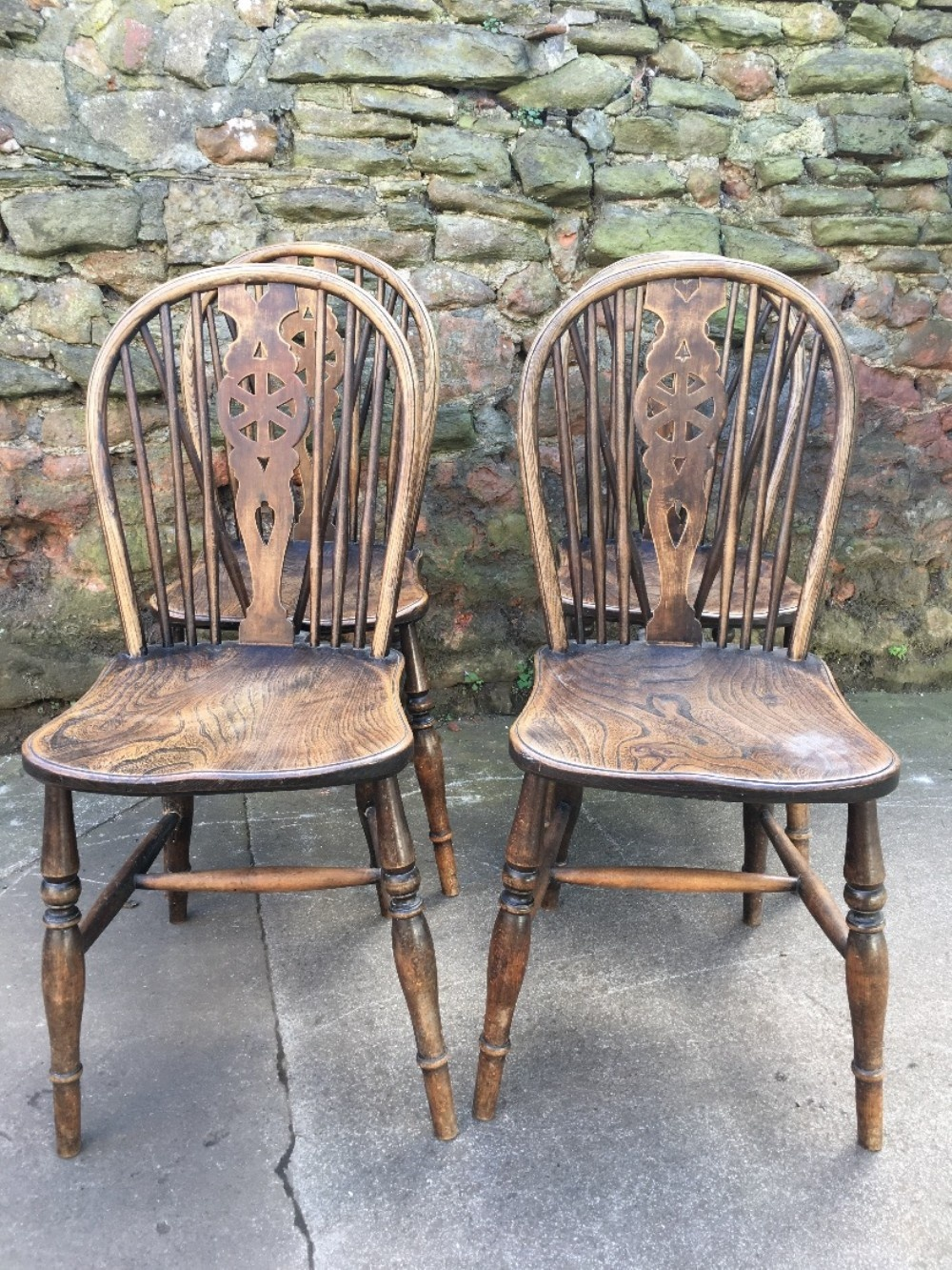 set of four windsor wheelback kitchen chairs
