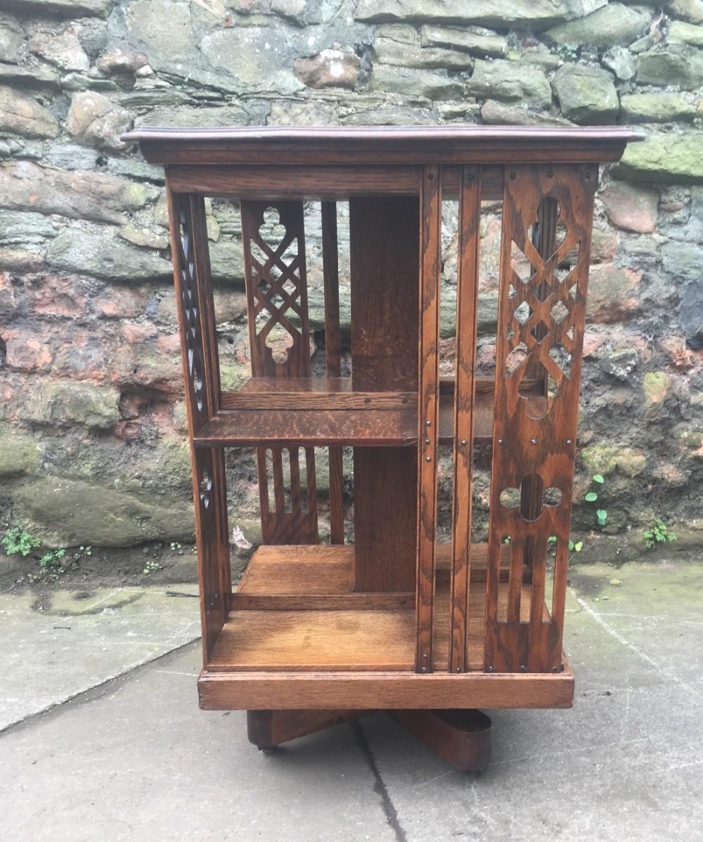 c19th oak revolving bookcase