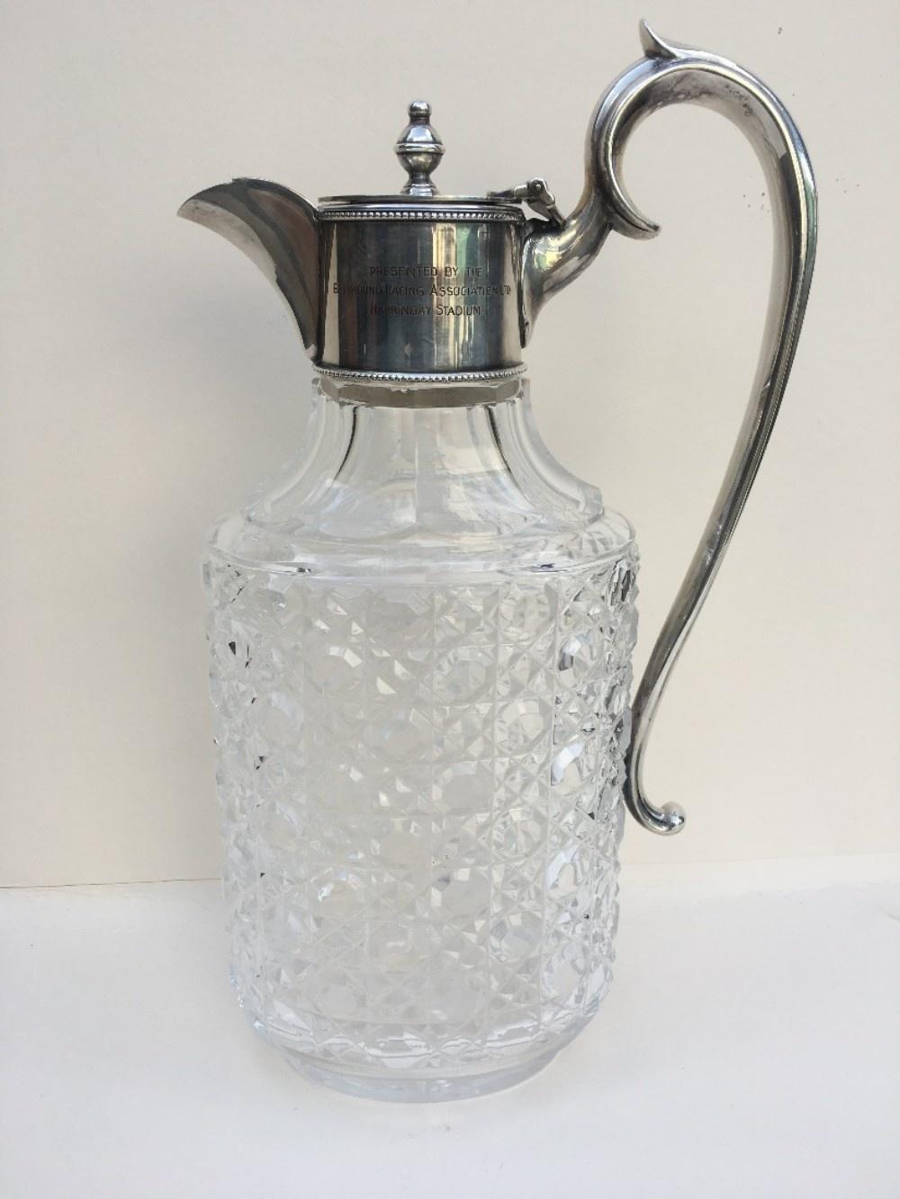 silver plated cut glass claret jug