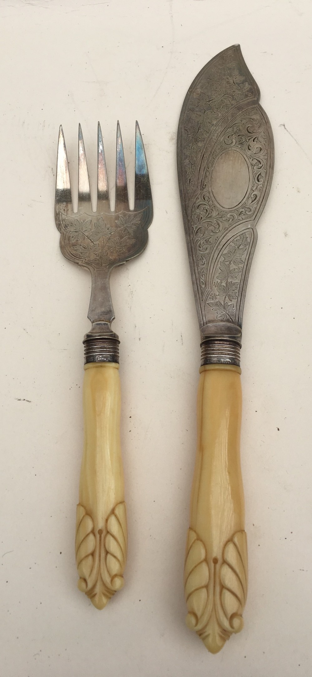 pair of fish servers hm silver dollars and ivory handles