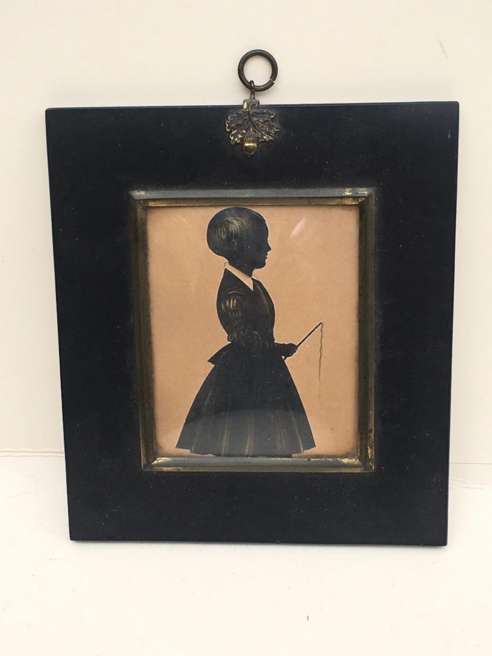 c19th silhouette in papier mache frame