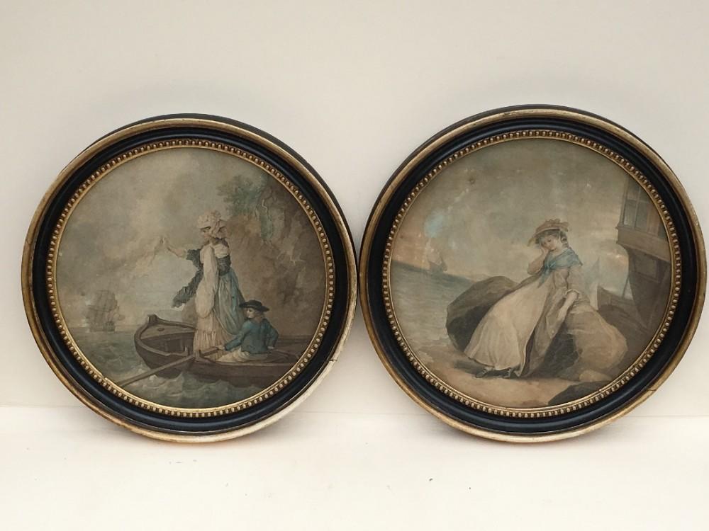 a pair of c18th stipple engravings in original frames