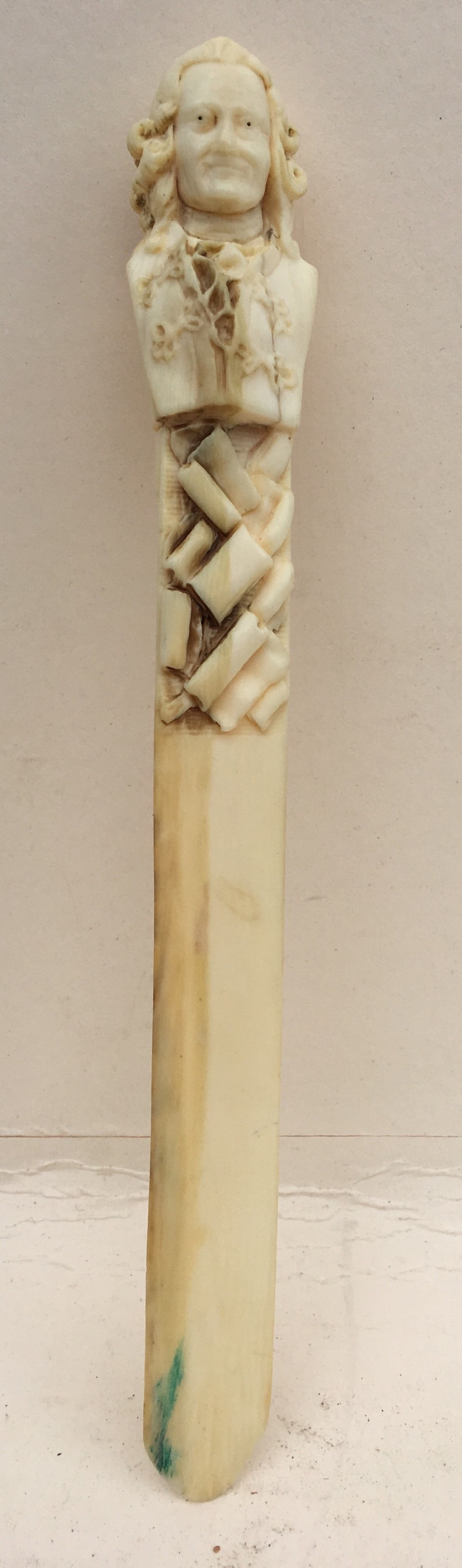 early c19th dieppe ivory page turner of voltaire