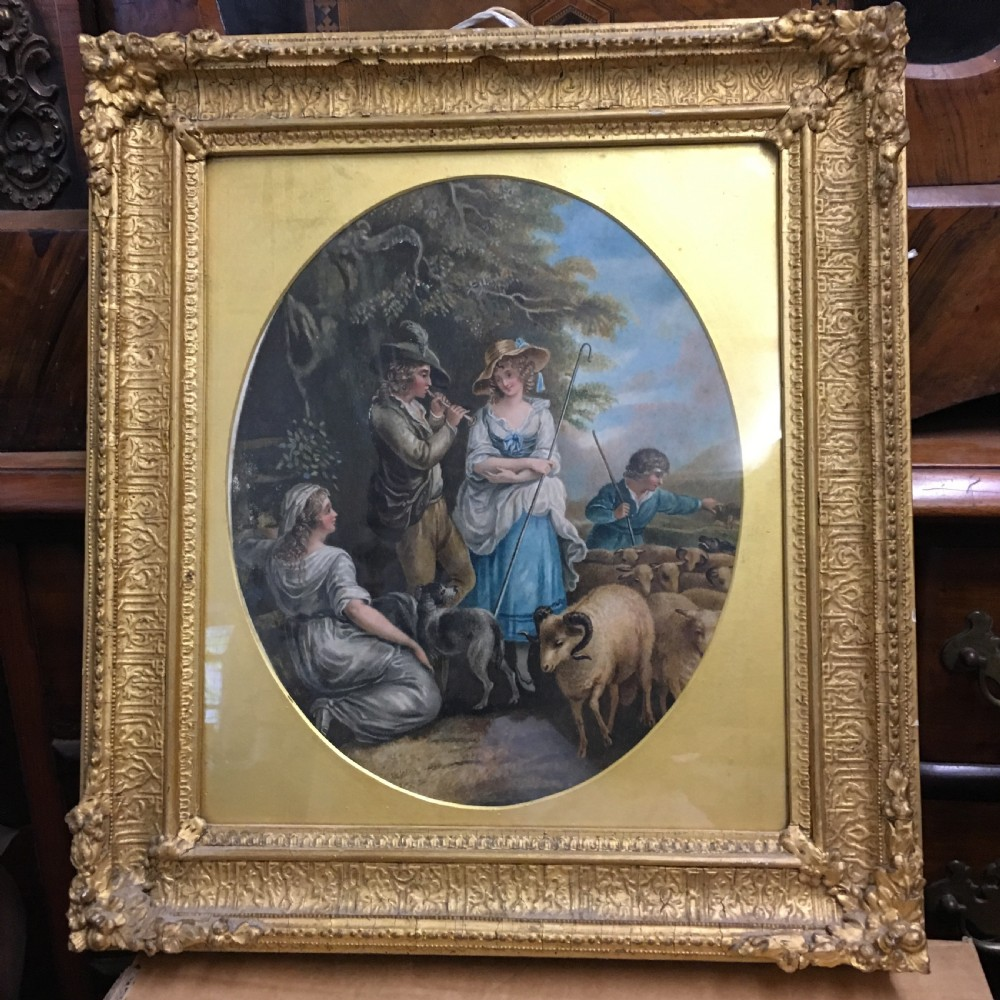 c19th gouache study of a shepherdess and a musician