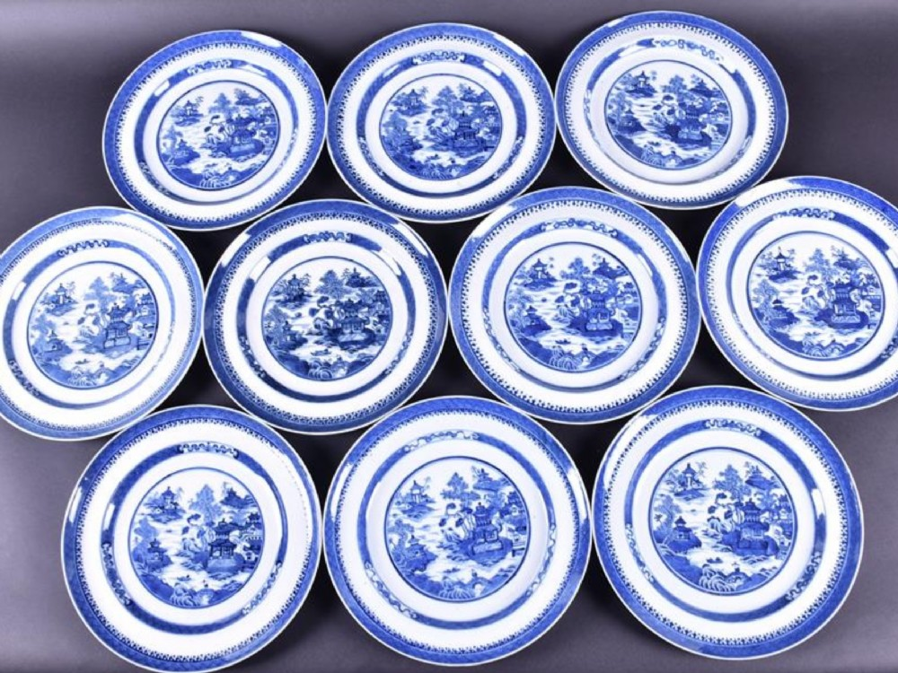 set of ten c18th blue and white chinese plates