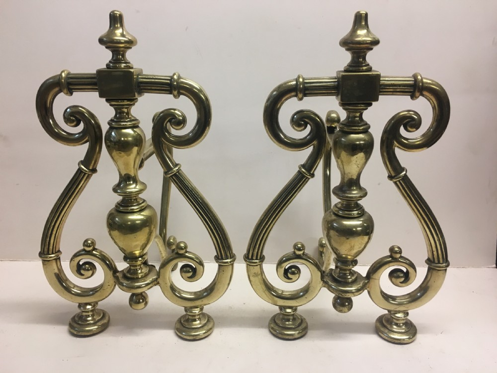 c19th large pair of brass fire dogs