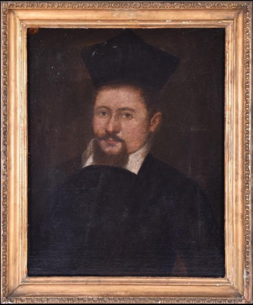 c18th oil painting on canvas of a priest in carved giltwood frame